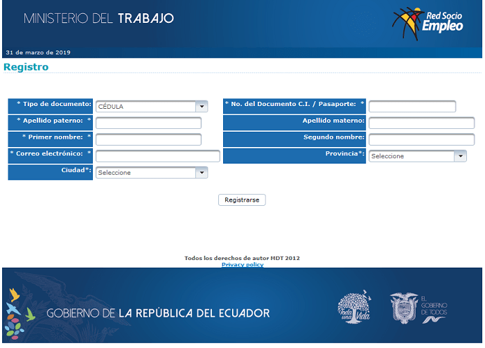 Registro Red Socio Empleo